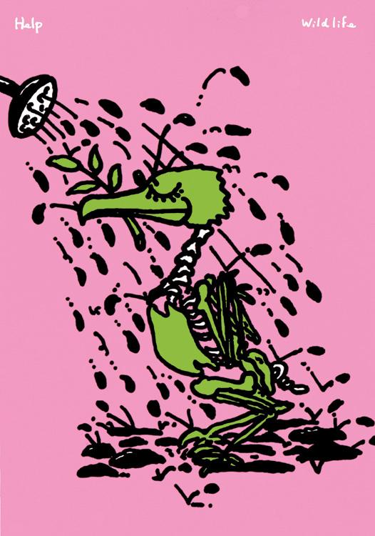 秋山孝が1991年にエコロジーをテーマに制作したポスター「 Wild Life Help (oil bath)」