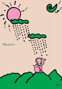 秋山孝が1991年にエコロジーをテーマに制作したポスター「Nature (rain cloud and monkey) 」