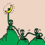 秋山孝が1991年にエコロジーをテーマに制作したポスター「Nature (monkeys are hand in hand) 」