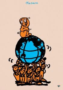 秋山孝が1991年にエコロジーをテーマに制作したポスター「 Nature (monkey-earth-people) 」