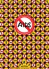 秋山孝がエイズをテーマに1992年に制作したポスター「Condom Boy and Aids Virus Boy」