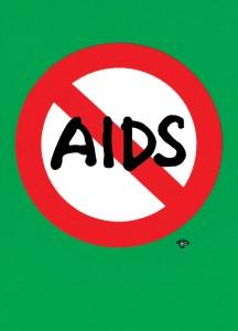 秋山孝が1992年にエイズをテーマに制作したポスター「Aids (stop aids symbol mark)」