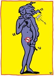 秋山孝が1992年にエイズをテーマに制作したポスター「Aids Condom Boy (venus)」