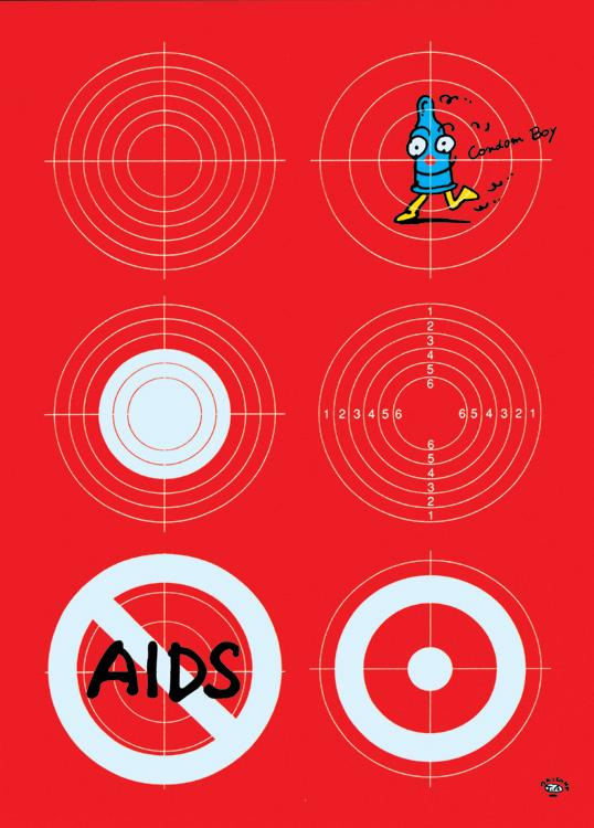 秋山孝が1992年にエイズをテーマに制作したポスター「Aids Condom Boy (target)」