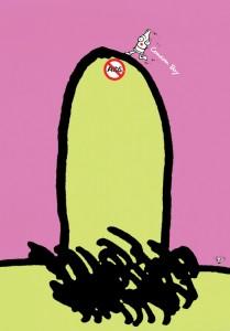秋山孝がエイズをテーマに1992年に制作したポスター「Aids Condom Boy (man)」
