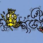 秋山孝が1993年にマグロをテーマに制作したポスター「Love Magurou (storm)」