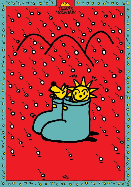 秋山孝が1995年に制作したポスター「Thanks Mountain (boots) 」