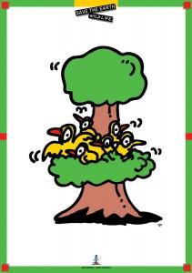 ポスターアーティスト秋山孝がエコロジーをテーマに1996年に制作したポスター「Save The Earth-Wild Life (bird)」