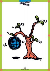 イラストレーター秋山孝が1996年にエコロジーをテーマに制作したポスター「Save The Earth-Nature (earth)」