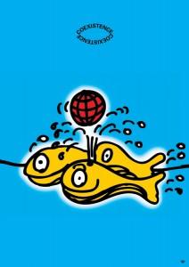ポスターアーティスト秋山孝が2000年にエコロジーをテーマに制作したポスター「Coexistence (whale)」