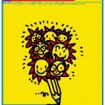 """ポスターアーティスト秋山孝が2005年に八王子学園都市いちょう塾のために制作したポスター「 Hachioji Gakuentoshi Daigaku """"Icho-juku"""" 2005 The first term 」"""