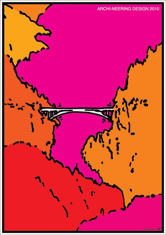 ポスターアーティスト秋山孝が社団法人 日本建築学会からの依頼により2009年に制作したポスター「ARCHI-NEERING DESIGN 2010 red」