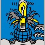 ポスターアーティスト秋山孝が反原発ポスター展実行委員会からの依頼により2011年に制作したポスター「NO MORE FUKUSHIMA 2011 NO MORE HIROSHIMA 1945 (blue)」