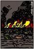 ポスターアーティスト秋山孝が多摩美術大学地震ポスター支援プロジェクトからの依頼により2011年に制作したポスター「地震津波火災 Earthquake Japan (gray)」