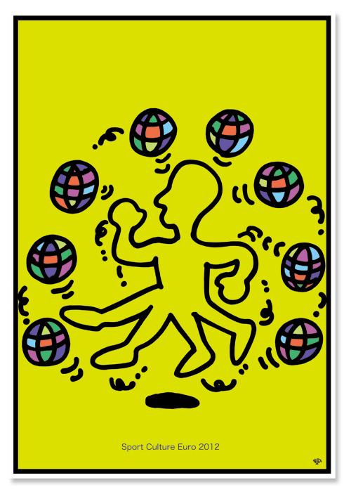 ポスターアーティスト秋山孝がポーランドオリンピック委員会 ヨーロッパ文化協会からの依頼により2012年に制作したポスター「Sport Culture Euro 2012」